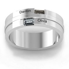 His birthstone and yours makes for a Cool men's wedding ring. Love it if the names aren't engraved