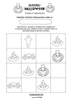 Sudoku pre deti - Halloween Sudoku Puzzles, Puzzles For Kids, Halloween, Words, Montessori, Note Cards, Brain Teasers For Kids, Kids Puzzles, Horse