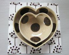 nesting ceramic heart bowls  polka dotted  3 1/2 by JDWolfePottery, $24.00