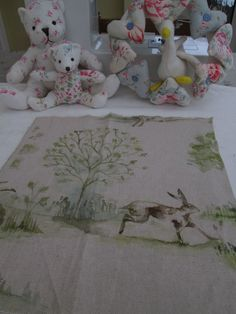 BN Very Very Pretty Voyage Linen Remnant In Boxing Hares