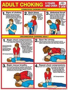 Adult Choking First Aid Wall Chart Poster ARC Guidelines)- Fitnus Corp. Adult Choking First Aid Wall Chart Poster Choking First Aid, First Aid Cpr, Survival Prepping, Emergency Preparedness, Survival Skills, Survival Gear, Emergency Binder, Survival Hacks, Survival Stuff
