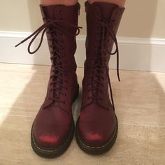 Doc Marten Women's 1914 in Cherry Red Great used condition. Slight scuffing on toes as shown in photo. Beautiful color! Dr. Martens Shoes Lace Up Boots