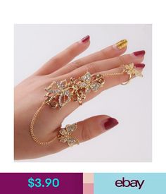 Rings 1P Butterfly Full Finger Rings Women Chain Link Double Armor Ring Rhinestone #ebay #Fashion