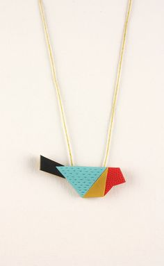 Geometric bird pendant, colorful polymer clay jewelry, origami color block necklace