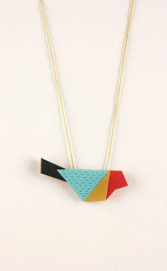 Geometric bird pendant colorful polymer clay by debroervandevogel