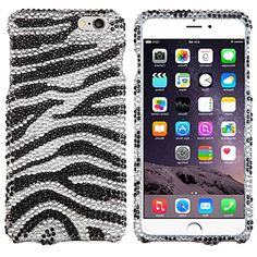 """myLife Moonlight White and Coal Black {Glittery Glam Bling Rhinestones Zebra Stripes Animal Print} 2 Piece Snap-On Rubberized Protective Faceplate Case for the NEW iPhone 6 (6G) 6th Generation Phone by Apple, 4.7"""" Screen Version """"All Ports Accessible"""" myLife Brand Products http://www.amazon.com/dp/B00U2XB2JI/ref=cm_sw_r_pi_dp_g9xhvb1JK6C2Y"""