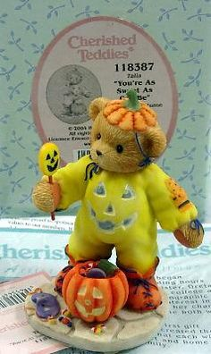 Cherished Teddies Talia You're As Sweet As Can Be Halloween Figurine Pumpkin Bear $18 FREE SHIPPING