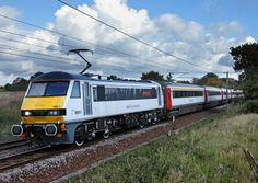 A Class 90 locomotive with Mark III carriages on an InterCity train. Electric Locomotive, Diesel Locomotive, British Rail, British Isles, Standard Gauge, Liverpool Street, Electric Train, Old Trains, Britain