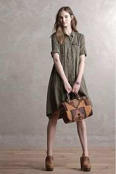 Military Swing Shirtdress - anthropologie.com