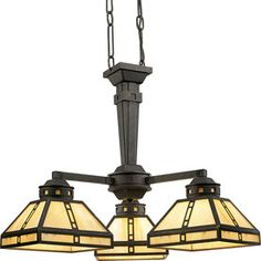 Progress Lighting�Arts and Crafts 3-Light Weathered Bronze Chandelier