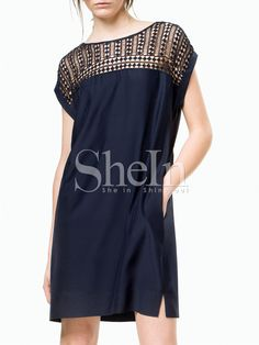 Navy Short Sleeve Hollow Pockets Dress 14.99