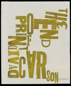 """Size: 12.5 x 15"""" (approx) Paper: Paper Printing/production: University of Pennsylvania's, The Common Press. About: Screen print. A call out to Carson's famous book, The End of Print. In the entire bat"""