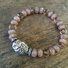 Boho Owl Crystal Stretch Bracelet Bohemian by TwoSilverSisters