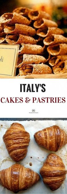 Italian pastries and cakes are often overlooked but are among the best in the world. Here's a short guide to some of our favorites pastries and cakes are often overlooked but are among the best in the world. Here's a short guide to some of our favorites. Italian Bakery, Italian Pastries, Italian Desserts, Italian Dishes, Just Desserts, Dessert Recipes, Italian Cookies, Italian Foods, French Pastries
