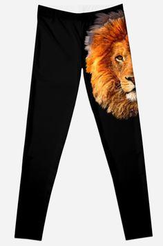 Old Lion Digital art Painting Leggings #Leggings #clothing  #abstract #lion #tiger #cat #bigcat #fur #beautifulanimal #aztec #jungle #puma #tarzan #pattern #gryffindornarnia