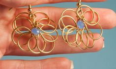 SALE- Unique Flower Shaped Earrings, Gold Fill 14K, Light Blue Crystals, Wire Wrapped Technique. by PerlitasJewelry on Etsy