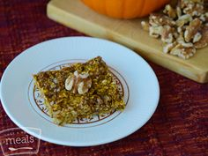 Vegan Pumpkin Walnut Oatmeal Bars | Once a Month Meals | OAMC | Freezer Meals | Freezer Cooking | Vegetarian Recipes