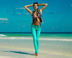 Turquoise jeans.
