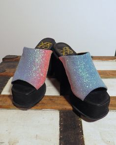7435623edde1ea Rainbow iridescent glitter 90s chunky heels    mules sandals    size 6     size 7    grunge revival