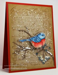 Stampendous Snow Bird stamp paired with the fantastically amazing Christmas… Christmas Bird, Handmade Christmas, Christmas Animals, Winter Christmas, Xmas Cards, Holiday Cards, Winter Karten, Bird Cards, Paper Hearts