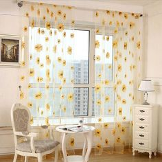 Living Room Decor Set White - window curtain, outgeek 2 panels floral sunflower sheers for living room bedroom kitchen home decor, set of 2 Room Ideas Bedroom, Living Room Bedroom, Modern Bedroom, Contemporary Bedroom, Curtain For Living Room, Master Bedroom, King Bedroom, Living Room Decor College, Art For Bedroom