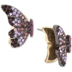 Betsey Johnson Hematite-Tone Pave Crystal Butterfly Stud Earrings ($28) via Polyvore featuring jewelry, earrings, purple, pave stud earrings, butterfly jewelry, butterfly earrings, butterfly wing jewelry and wing earrings