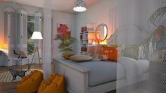 pink orange bedroom