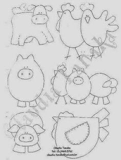 Barn animals pig cow chicken bird Mimo Artes: Moldes