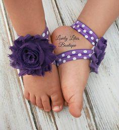 Baby Barefoot Sandals .. Purple Flowers on Polka Dots .. Toddler Sandals .. Newborn Sandals .. Baby Flower Sandals