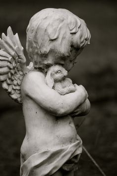 Black and White Photograph Cherub Statue Danish by SandraLynns, $20.00