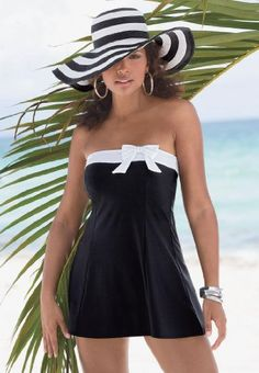 Roamans Plus Size Swimdress with White Side Bow