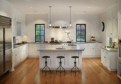 Canterbury Design: Gorgeous U shaped kitchen design with white shaker cabinets paired with stainless steel ...