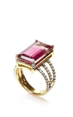 One Of A Kind Emerald Cut Pink Tourmaline Ring by Jemma Wynne for Preorder on Moda Operandi