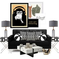 Black Sofa...You Are Amazing... by kimberlyd-2 on Polyvore featuring interior, interiors, interior design, casa, home decor, interior decorating, Rove Concepts, Pastel, Uttermost and Christian Lacroix