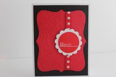 Red and Black Classic Merci Thank You Handmade Greeting Card | CraftsByJackie - Cards on ArtFire