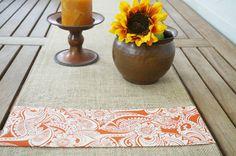 Burlap Table Runner, Orange Floral, Custom Length Available