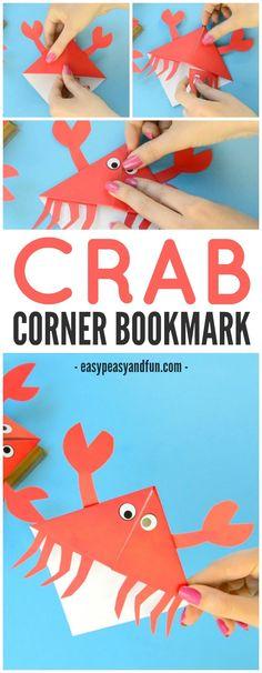 Adorable Crab Corner Bookmarks Origami for Kids