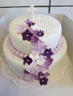 Christening cake girl purple flowers purple with fondant Christening Cake Girl Fruit Birthday, Watermelon Birthday, First Birthday Cakes, Birthday Cake Girls, Christening Cake Girls, Baptism Cakes, Smash Cake Recipes, Melon Cake, Bolo Floral
