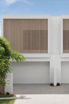 House Cladding, Exterior Cladding, Facade House, House Exteriors, Duplex Design, Townhouse Designs, Minimal House Design, Small House Design, Facade Design