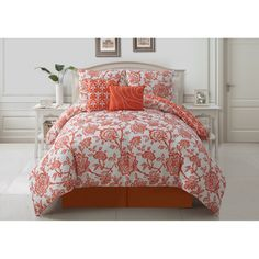 @Overstock - This bedding collection features a reversible comforter to change how the room looks at a whim. Both sides feature a dramatic floral print and matching decorative pillows are included.http://www.overstock.com/Bedding-Bath/Jordin-5-piece-Reversible-Comforter-Set/7722801/product.html?CID=214117 $79.99