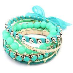 Ruby Rocks Jewellery Seawater Multi Gem Bracelet Set ($18) ❤ liked on Polyvore featuring jewelry, bracelets, accessories, pulseiras, green, gemstone jewellery, ruby rocks, green gemstone jewelry, gypsy jewelry and green jewelry