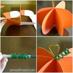 This cute paper pumpkin is so easy and fun!