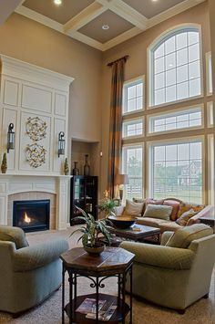 Window wall, ceiling and fireplace details. Fischer Homes