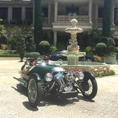 Leaving my Private estate in Los Lagos in my Morgan three-wheeler for the Memorial Day Parade