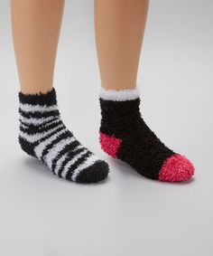 Take a look at this Black Zebra Fuzzy Socks Set by Crazy Sox on #zulily today!
