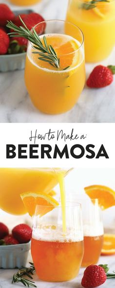 Take your brunch drink up a notch and make a beermosa! Forget the champagne and add mix your favorite beer with some orange juice for the perfect brunch cocktail! cocktails Beermosa Recipe - Fit Foodie Finds (Perfect for Brunch)! Orange Juice Cocktails, Healthy Cocktails, Brunch Drinks, Brunch Menu, Easy Cocktails, Sunday Brunch, Party Drinks, Melanie Martinez, Sweets