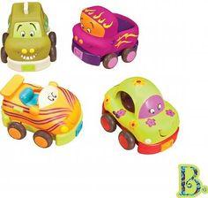 B. Toys Autka miękkie - Czteropak - Brum, brum cztery, gumowe auta właśnie ścigają się po podłodze! Wspaniała zabawa dla każdego Małego miłośnika najróżniejszych pojazdów.