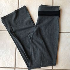 Gap Fit Gbalance Charcoal Fold Waistband Cotton Knit Athletic Pants 8 Ankle  #Gap #PantsTightsLeggings