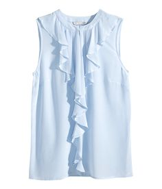 Powder blue sleeveless, fitted blouse with premium-quality mulberry silk, decorative ruffles, and keyhole opening. | H&M Pastels