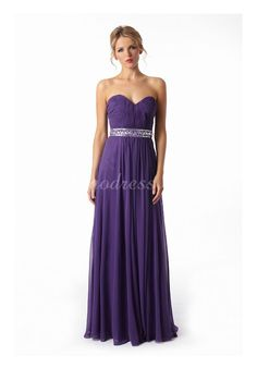 Long Pleated Chiffon Waist Beaded Sweetheart Prom Dress picture 1